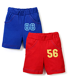 Babyhug Shorts Pack of 2 Numbers Print - Blue and Red