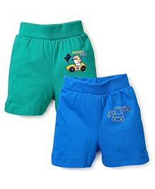 Babyhug Shorts Pack of 2 Multi Print - Blue and Green