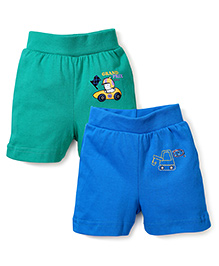 Babyhug Shorts Pack of 2 Multi Print - Blue and Green