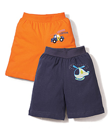 Babyhug Shorts Pack of 2 Multi Print - Orange and Blue