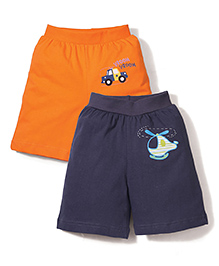 Babyhug Shorts Pack of 2 Multi Print - Navy Blue And Orange