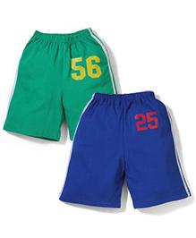 Babyhug Shorts Number Print - Green And Blue