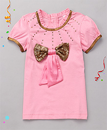 Babyhug Short Sleeves Party Top Sequin Bow Applique - Pink