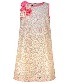 Pspeaches Flower Applique Party Dress - Pink