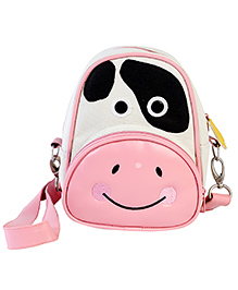 My Gift Booth Cow Design Sling Bag - Cream And Pink