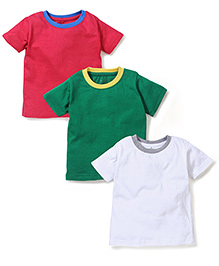 Babyhug Half Sleeves T-Shirts With Contrast Color Neckline - White Green Pink