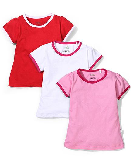 Babyhug Half Sleeves T-Shirts Red White And Pink - Set Of 3