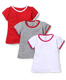 Babyhug Half Sleeves Top Set of 3 - Red White Grey