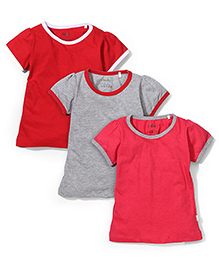 Babyhug Half Sleeves Top Set of 3 - Grey Red Fuchsia