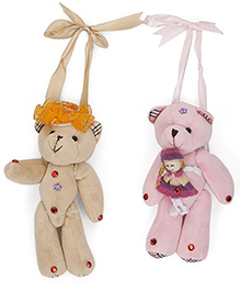 Curtain Holder Teddy Soft Toy - Light Brown Pink