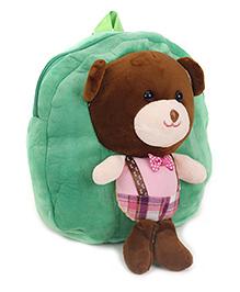 Teddy Applique Soft Toy School Bag - Green