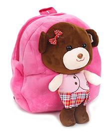 Teddy Applique Soft Toy School Bag - Pink