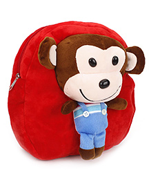Monkey Applique Soft Toy School Bag - Red