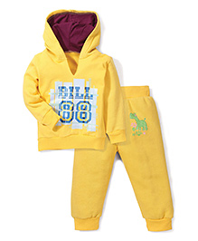 Babyhug Hooded T-Shirt And Pant Bill 88 Print - Yellow