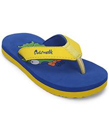 Cute Walk by Babyhug Flip Flops - Yellow Royal Blue