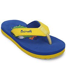 Cute Walk by Babyhug Flip Flops - Yellow Royal Blue