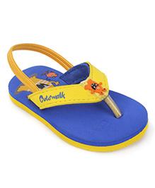 Cute Walk by Babyhug Flip Flop With Back Strap - Royal Blue & Yellow