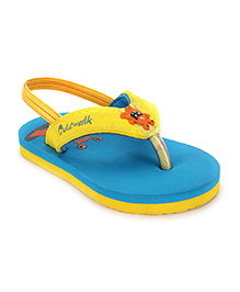 Cute Walk by Babyhug Flip Flop With Back Strap - Sky Blue & Yellow