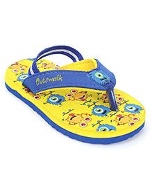 Cute Walk by Babyhug Flip Flop With Back Strap - Yellow & Royal Blue