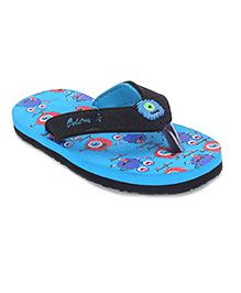 Cute Walk by Babyhug Flip Flops Printed Foot Bed - Sky Blue & Black