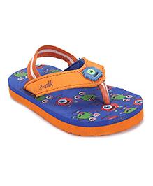 Cute Walk by Babyhug Flipflops With Back Strap - Blue And Orange