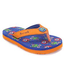 Cute Walk by Babyhug Flip Flops Printed Foot Bed - Blue & Orange