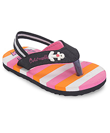 Cute Walk by Babyhug Flipflops Anchor Print With Back Strap - Multicolor