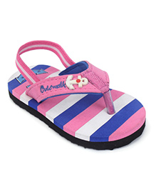 Cute Walk by Babyhug Flip Flop With Back Strap Stripes - Pink & Royal Blue