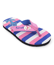 Cute Walk by Babyhug Flip Flops Stripes And Anchor Motif - Pink & Royal Blue