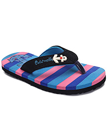 Cute Walk by Babyhug Flip Flops Stripes And Anchor Motif - Blue & Pink