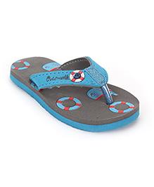 Cute Walk by Babyhug Flip Flops Multiprint - Grey Blue
