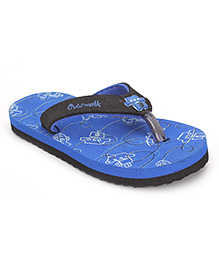 Cute Walk by Babyhug Ship & Fish Print  Flipflops - Royal Blue Black