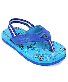 Cute Walk by Babyhug Ship & Fish Print  Flipflops - Turquoise And Royal Blue