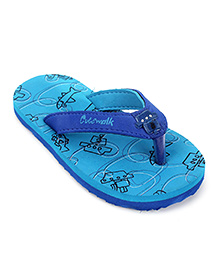 Cute Walk by Babyhug Ship & Fish Print  Flipflops - Turquoise And Royal Blue