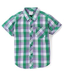 Babyhug Half Sleeves Cotton Shirt Checks Pattern - Green And Purple