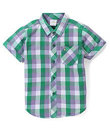 Babyhug Half Sleeves Cotton Shirt Checks Pattern - Green And Purple