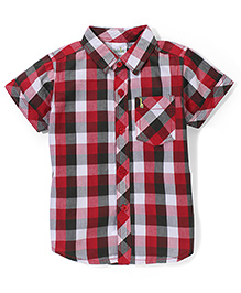 Babyhug Half Sleeves Cotton Shirt Checks Pattern - Red And Brown
