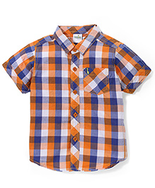 Babyhug Half Sleeves Cotton Shirt Checks Pattern - Orange And Blue