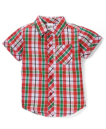 Babyhug Half Sleeves Cotton Shirt Checks Pattern - Red And Green