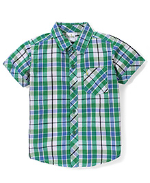 Babyhug Half Sleeves Cotton Shirt Checks Pattern - Green And Blue