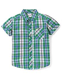Babyhug Half Sleeves Cotton Shirt Checks Pattern - Green And Blue