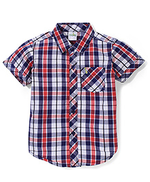 Babyhug Half Sleeves Cotton Shirt Checks Pattern - Red And Blue