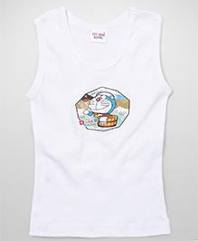 Doraemon Printed Sleeveless Vest - White