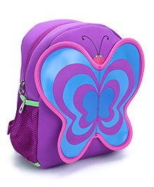 Butterfly Applique School Backpack - Purple