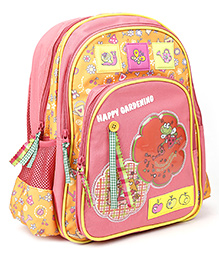 Safari Bags Happy Gardening Backpack Pink And Yellow - 14 inches