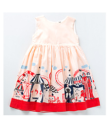 MilkTeeth Circus Print Dress - Peach