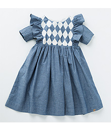 MilkTeeth Harlequin Dress - Mid Blue
