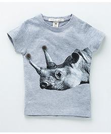 MilkTeeth Rhino Print Tee - Light Grey
