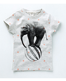 MilkTeeth Rolling Elephant Print Tee - Grey