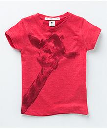 MilkTeeth Peeping Giraffe Print Tee - Red